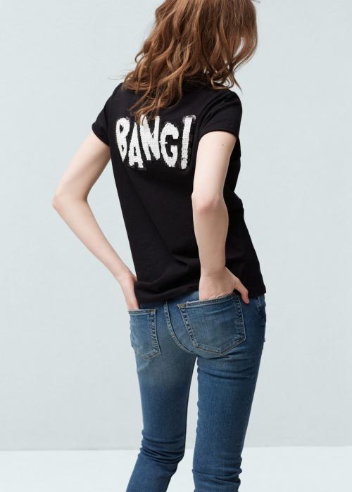 Mango - T-shirt empiècement bang