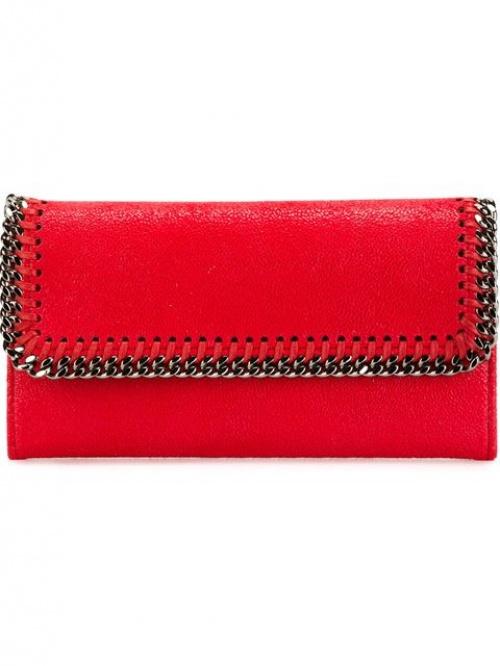 porte monnaie rouge chaine cuir