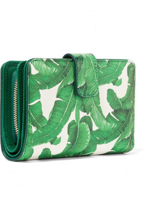 Porte monnaie feuilles vert