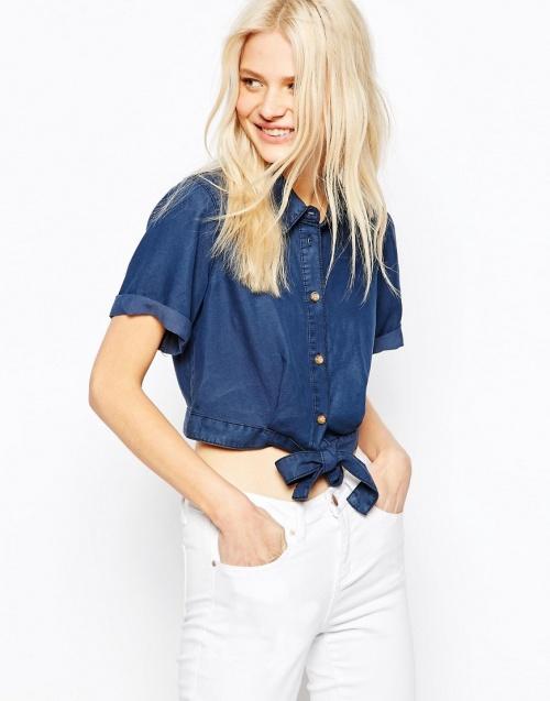 Asos  chemise courte jean à noeud