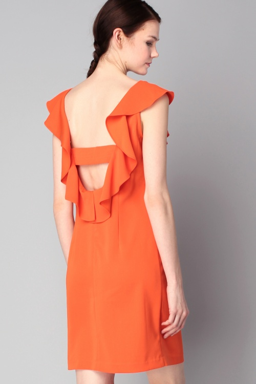 robe dos nus orange volant
