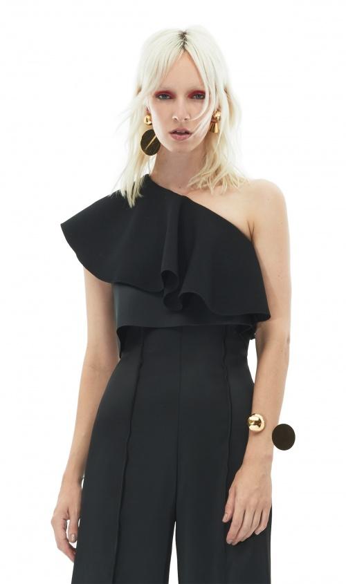 Solace of London top asymmetrique noir