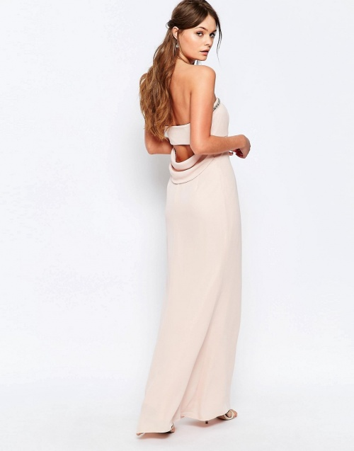 robe longue dos nus rose