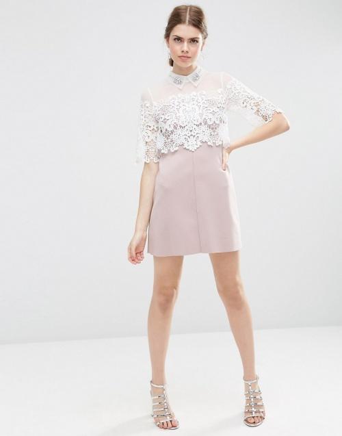 robe dentelle blanc rose