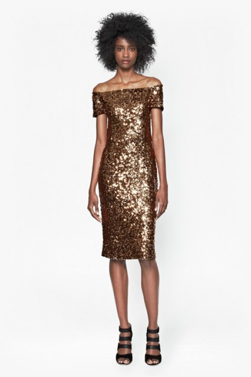 French Connection - Robe dorée bardot sequins