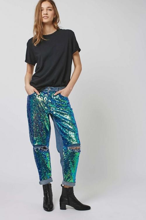 Topshop - Jean à sequins turquoises