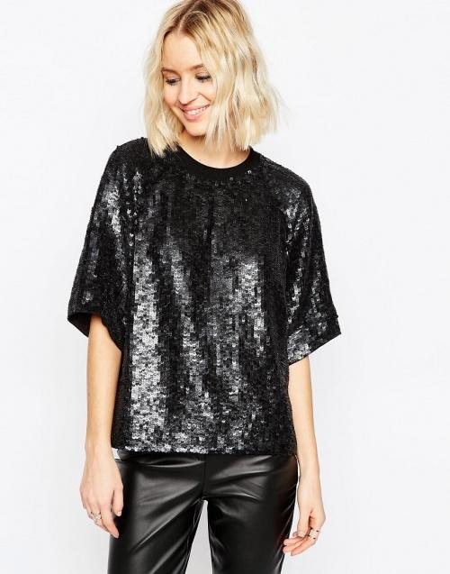 Asos - T-shirt noir à sequins