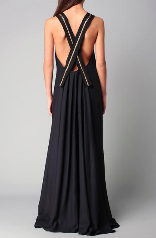 robe noire dos nu croisé