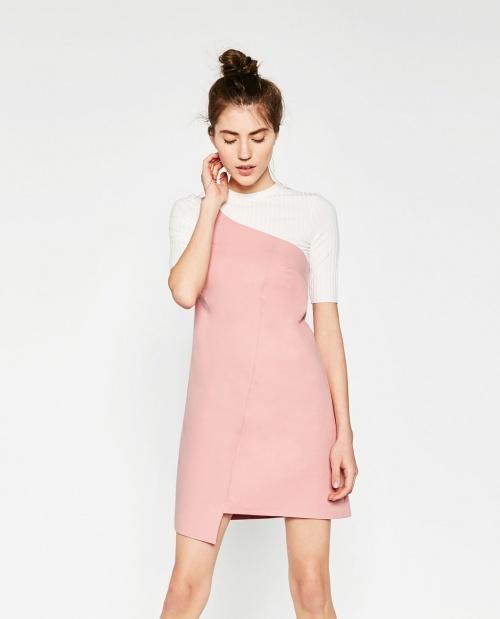 Zara - Robe asymétrique pop rose