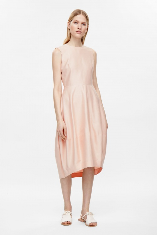 COS - Robe longue ample rose pale