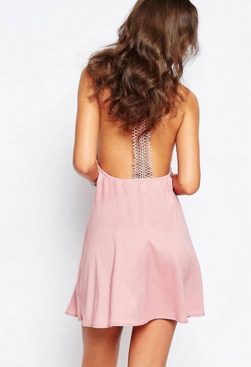 Glamorous - Robe dos dentelle rose