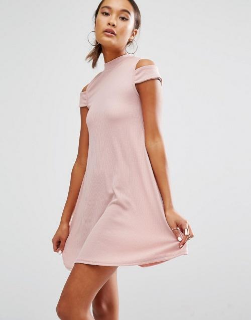 Daisy Street - Robe rose pale avec épaules dénudées