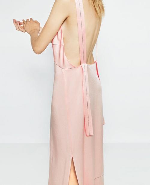 Zara - Robe longue rose pâle