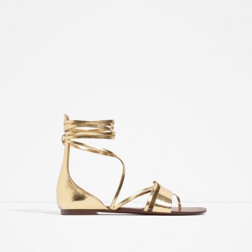 Zara - Sandales plates dorées