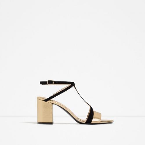 Zara - sandales  dorée et noir