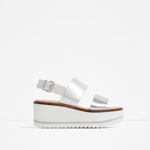 Zara - sandales compensées argent