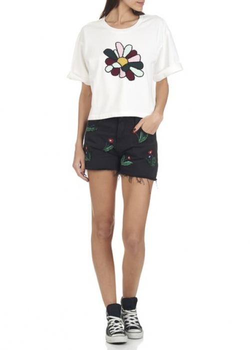 Mo&Co. - T-shirt à motif fleur blanc