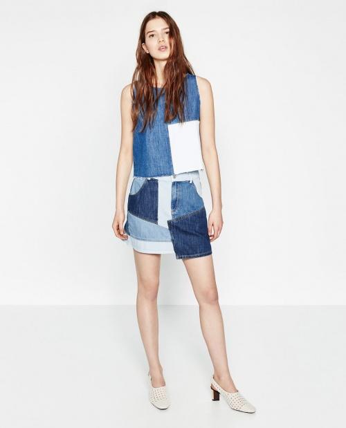 Zara jupe jean patchwork denim
