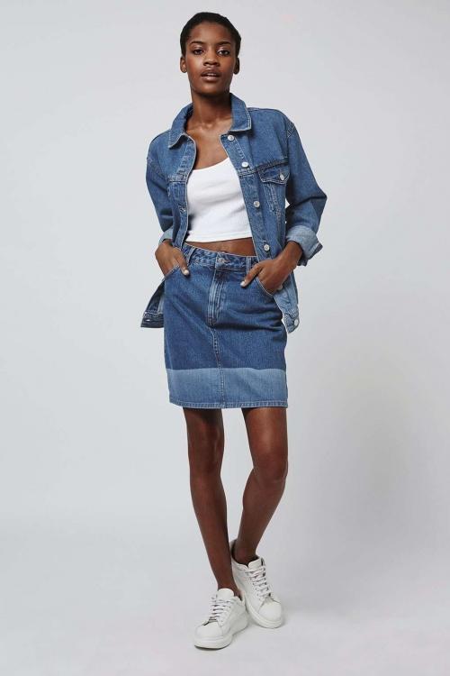 Topshop mini jupe bordereaux bleu ciel