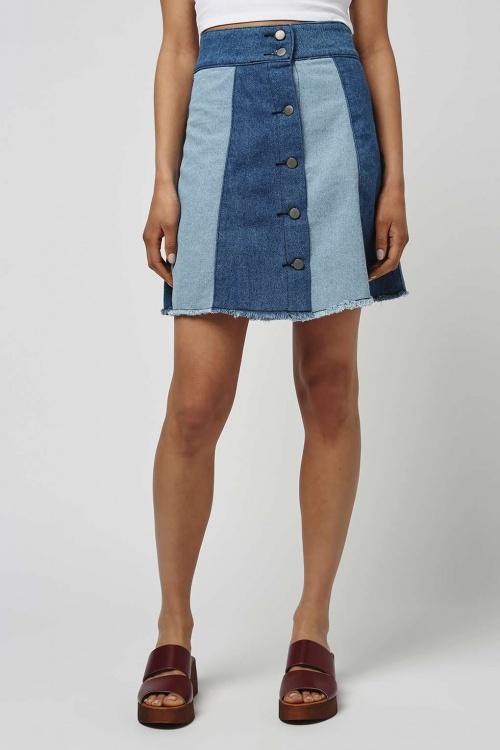 Topshop mini jupe bandeaux bleu ciel