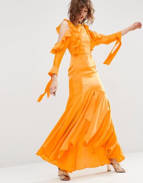 Asos maxi dress jaune volant cold shoulder