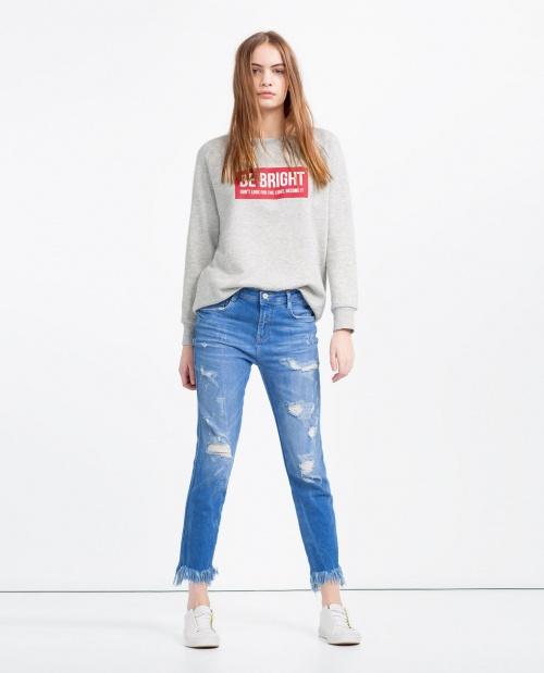 Zara jean cropped bicolore