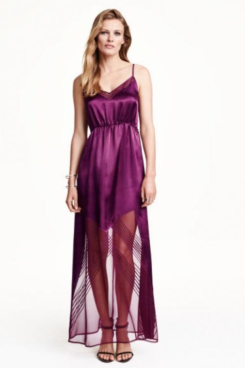 H&M robe longue fushia semi transparente satin
