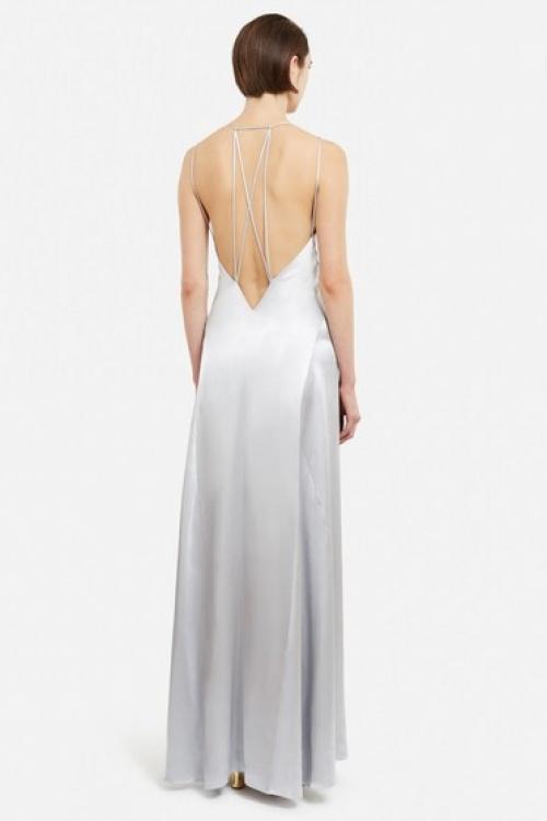 Galvan  robe longue satin gris clair