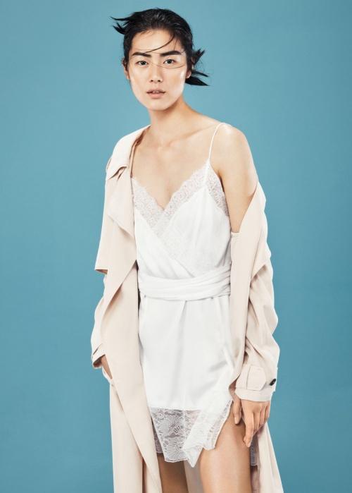 Mango robe lingerie blanche dentelle