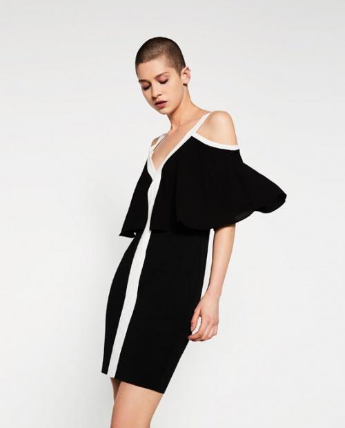 Zara robe épaules nues bicolores