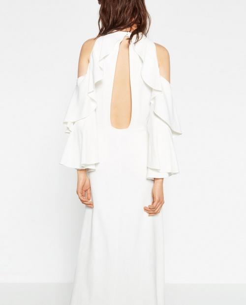 Zara robe longue blanche dos et epaule ouverte