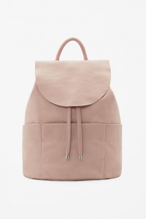 COS sac à dos cuir rose structurée