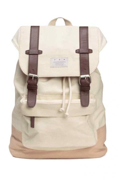 H&M sac à dos toile beige