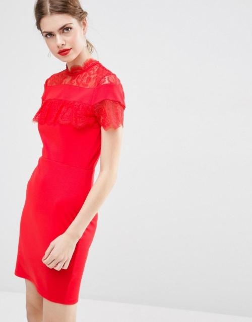 Asos robe rouge fourreau dentelle