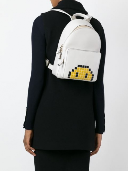 Anya Hindmarch sac à dos blanc pixel