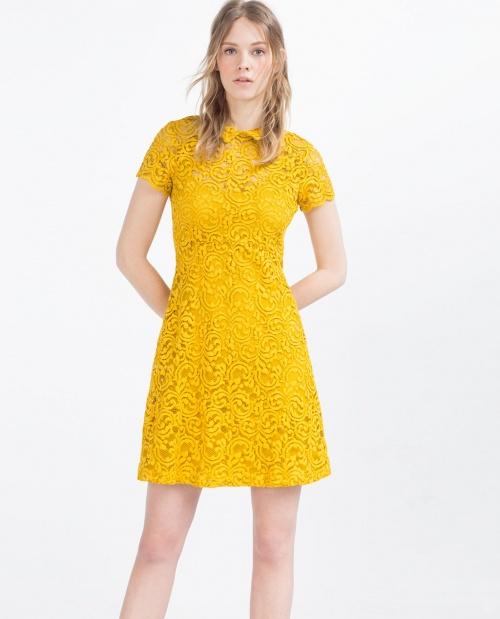Zara robe dentelle jaune