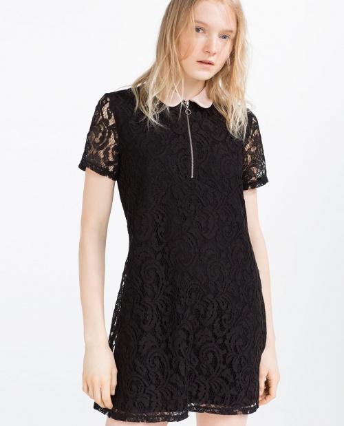 Zara robe dentelle col blanc