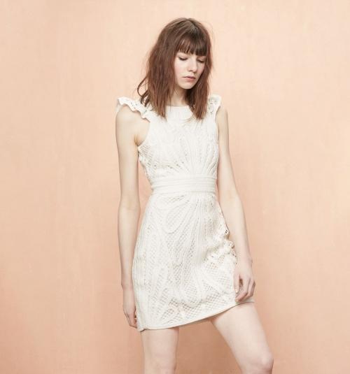 Maje robe blanche courte structurée