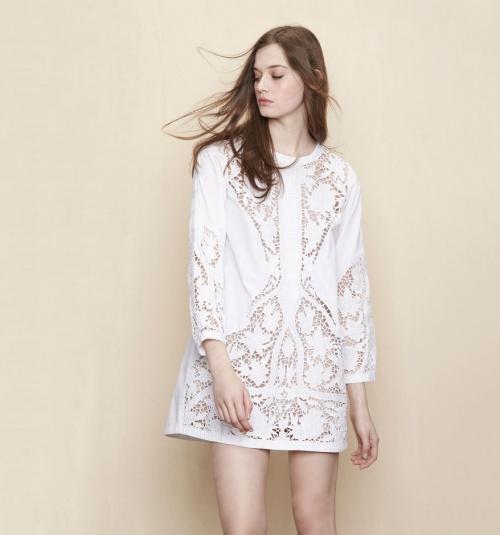 Maje robe ajourée blanche