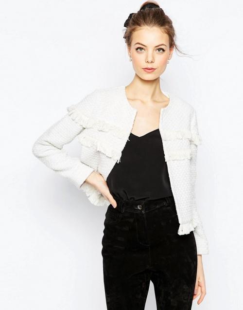 asos veste frangée blanche tweed