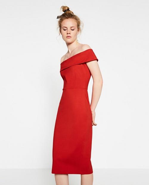 robe rouge bardot