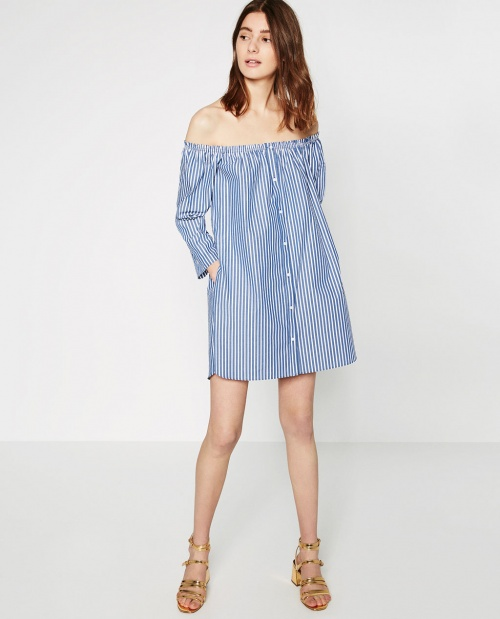 robe bardot bleue