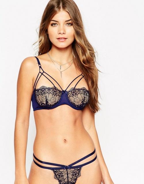 lingerie dentelle ensemble bleu