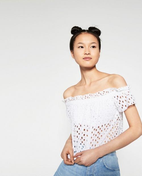 Zara - Top ajouré blanc
