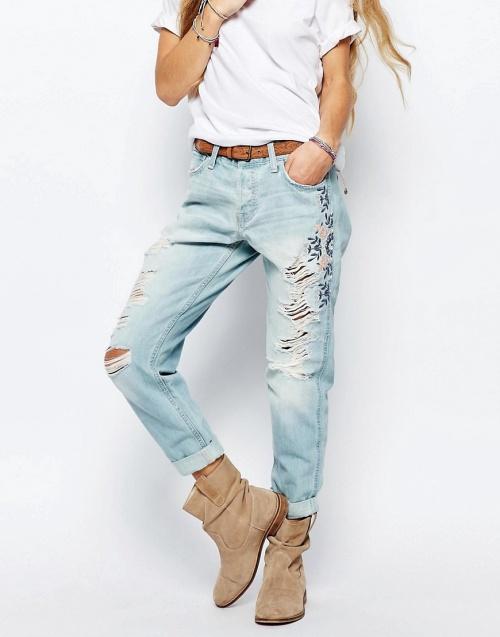 Hollister jean motif fleur usé