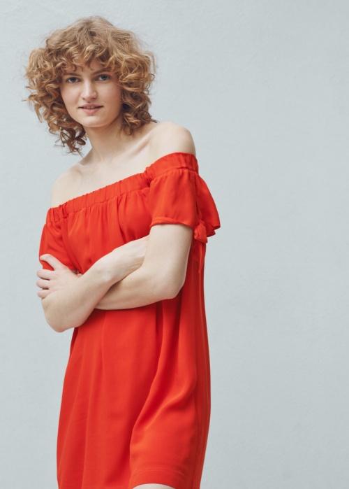 Mango - Robe rouge noeud épaules col bardot