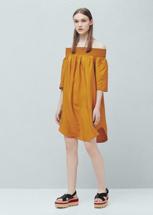 Mango - Robe col bardot jaune ample