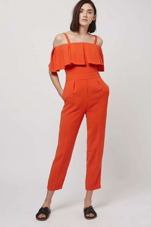 Topshop - Combinaison orange col bardot