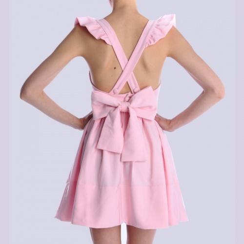 LPC robe patineuse dos croisé noeud rose bonbon