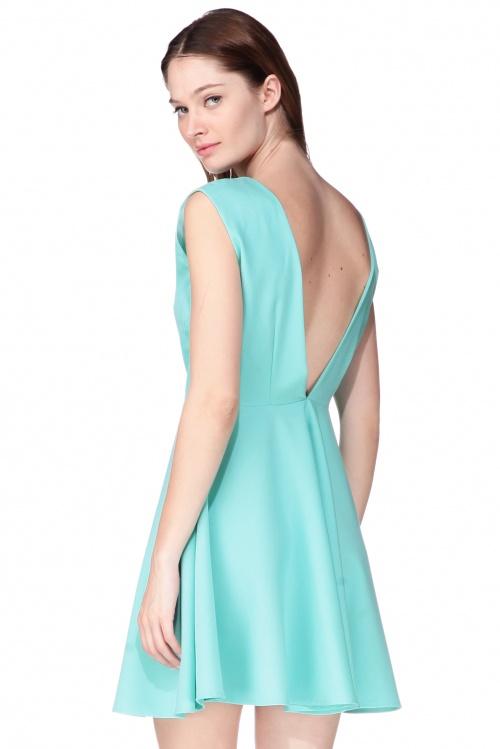 Kling robe turquoise dos V